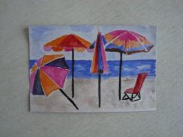 Пляжные зонтики.  акварель.  (открытка)